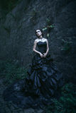 Attractive woman in black dress Royalty Free Stock Photography