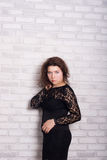Attractive woman in black dress Royalty Free Stock Images