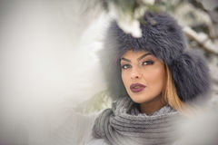 Attractive woman with black fur cap and gray shawl enjoying the winter. Frontal view of fashionable brunette girl with makeup Stock Images