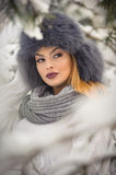 Attractive woman with black fur cap and gray shawl enjoying the winter. Frontal view of fashionable brunette girl with makeup. Attractive woman with black fur Royalty Free Stock Photography