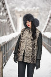 Attractive woman with black fur cap and gray waistcoat enjoying the winter. Frontal view of fashionable brunette girl posing. On a snow covered bridge Royalty Free Stock Photo