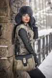 Attractive woman with black fur cap and gray waistcoat enjoying the winter. Side view of fashionable brunette girl posing. Against snow covered bridge Royalty Free Stock Images