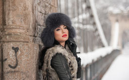 Attractive woman with black fur cap and gray waistcoat enjoying the winter. Side view of fashionable brunette girl posing Royalty Free Stock Photos