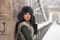 Attractive woman with black fur cap and gray waistcoat enjoying the winter. Side view of fashionable brunette girl posing Stock Photo