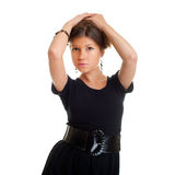 Attractive woman in black gown Royalty Free Stock Photo