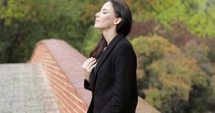 Woman on bridge. Attractive woman in black jacket standing on brick bridge and looking at camera during her walk in autumn park stock video footage