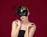 Attractive woman with black mask royalty free stock photos