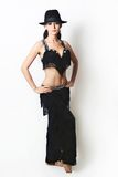 Attractive woman in black oriental dress Stock Images