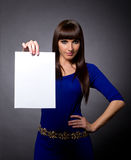 Attractive Woman with Blank Message Sign Stock Photography