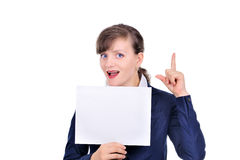Attractive woman with blank paper. Exclamation Royalty Free Stock Photography