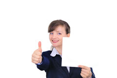 Attractive woman with blank paper. Attractive woman with thumb-up Royalty Free Stock Images