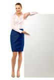 Attractive woman with blank poster Royalty Free Stock Images