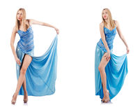 The attractive woman in blue dress on white Stock Images