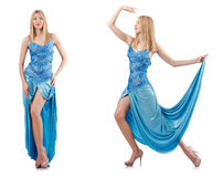 The attractive woman in blue dress on white Royalty Free Stock Photo