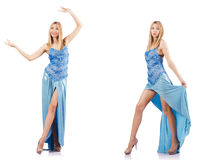The attractive woman in blue dress on white Royalty Free Stock Photos