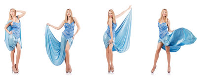 The attractive woman in blue dress on white Stock Photo