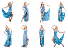 The attractive woman in blue dress on white Stock Photography