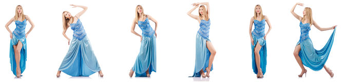 The attractive woman in blue dress on white Royalty Free Stock Image
