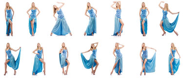 The attractive woman in blue dress on white Stock Image