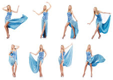 The attractive woman in blue dress on white Royalty Free Stock Images