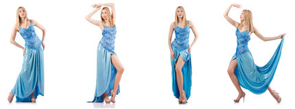 The attractive woman in blue dress on white Royalty Free Stock Photography