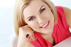 Attractive woman with blue eyes Royalty Free Stock Photos