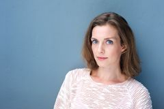 Attractive woman with blue eyes royalty free stock images