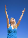 Attractive woman on the blue sky. Photo of atractive woman on the beach Stock Photo