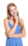 Attractive woman in a blue summer dress Royalty Free Stock Photography