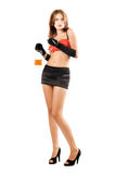 Attractive woman with a bottle and cigarette Royalty Free Stock Photos