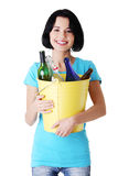 Attractive woman with bottles, recycling idea. Stock Image