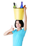 Attractive woman with bottles, recycling idea. Stock Photo