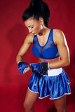 Attractive woman boxer Royalty Free Stock Images