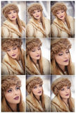 Attractive woman with brown fur cap and jacket enjoying the winter. Side view of fashionable blonde girl posing against bridge Stock Photos