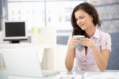 Attractive woman browsing internet in office stock photography