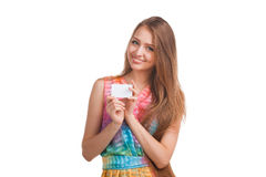 Attractive woman with business card Royalty Free Stock Image