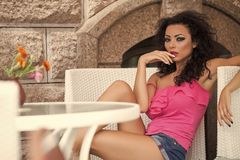 Attractive woman in cafe Royalty Free Stock Images