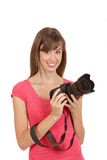 Attractive woman with camera. Stock Photos