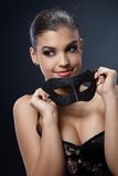 Attractive woman with carnival mask Royalty Free Stock Photos