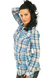 Attractive woman in casual blue shirt Royalty Free Stock Photography