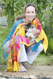 Attractive woman with a cat Royalty Free Stock Photos