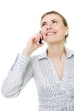 Attractive woman with cell phone. Over white royalty free stock images