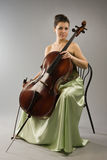 Attractive woman with cello Royalty Free Stock Photo