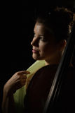 Attractive woman with cello Royalty Free Stock Image