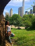 Attractive woman in the Central park, NYC Royalty Free Stock Photos