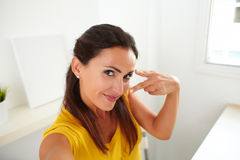 Attractive woman chatting on a webcam Stock Photos