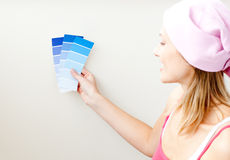 Attractive woman choosing color for painting room Royalty Free Stock Photography