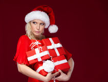 Attractive woman in Christmas cap Stock Photo
