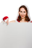 Attractive woman in Christmas clothing Stock Photo