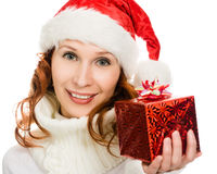 Attractive woman in Christmas presents gift Stock Images